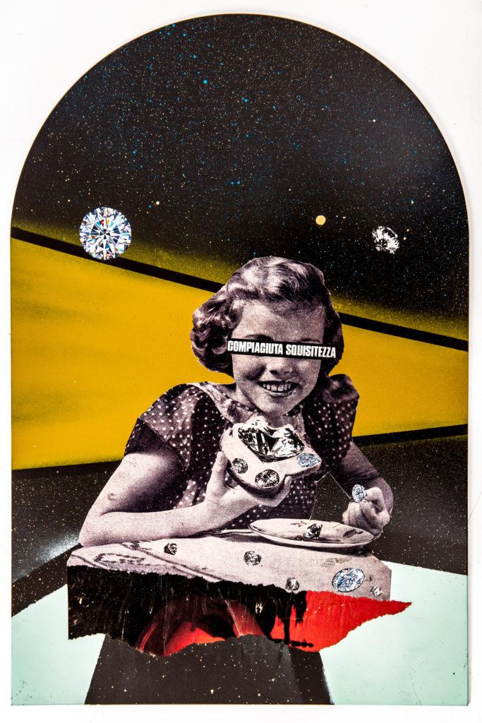 Demetrio Di Grado, Compiaciuta squisitezza 2019 tecnica: collage analogico e spray paint su laminam dimensioni: cm 40 x 60 cm
